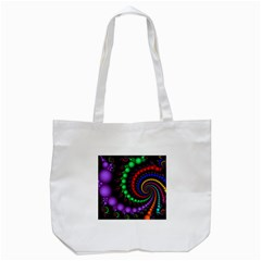 Fractal Background With High Quality Spiral Of Balls On Black Tote Bag (white)