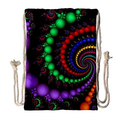 Fractal Background With High Quality Spiral Of Balls On Black Drawstring Bag (large) by Amaryn4rt