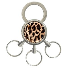 Yellow And Brown Spots On Giraffe Skin Texture 3 Ring Key Chains