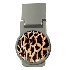 Yellow And Brown Spots On Giraffe Skin Texture Money Clips (round)  by Amaryn4rt