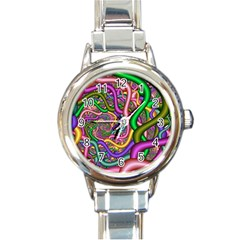 Fractal Background With Tangled Color Hoses Round Italian Charm Watch by Amaryn4rt