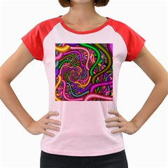 Fractal Background With Tangled Color Hoses Women s Cap Sleeve T Shirt