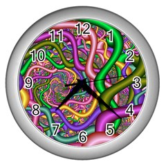 Fractal Background With Tangled Color Hoses Wall Clocks (silver)  by Amaryn4rt