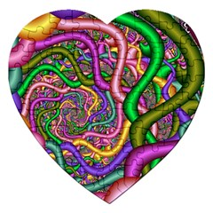 Fractal Background With Tangled Color Hoses Jigsaw Puzzle (heart) by Amaryn4rt