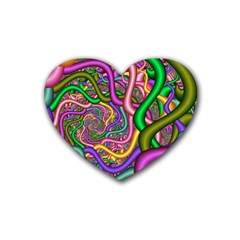 Fractal Background With Tangled Color Hoses Heart Coaster (4 Pack)  by Amaryn4rt