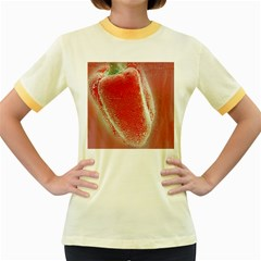 Red Pepper And Bubbles Women s Fitted Ringer T Shirts by Amaryn4rt