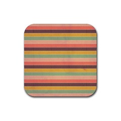 Abstract Vintage Lines Background Pattern Rubber Coaster (square)  by Amaryn4rt