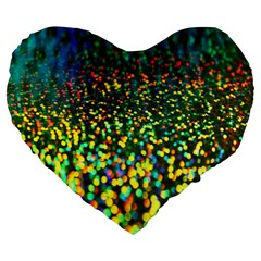 Construction Paper Iridescent Large 19  Premium Heart Shape Cushions by Amaryn4rt