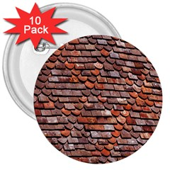 Roof Tiles On A Country House 3  Buttons (10 Pack)  by Amaryn4rt