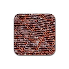 Roof Tiles On A Country House Rubber Square Coaster (4 Pack)  by Amaryn4rt