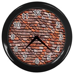 Roof Tiles On A Country House Wall Clocks (black) by Amaryn4rt