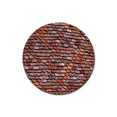 Roof Tiles On A Country House Rubber Round Coaster (4 Pack)  by Amaryn4rt