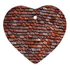 Roof Tiles On A Country House Heart Ornament (two Sides) by Amaryn4rt
