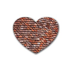 Roof Tiles On A Country House Rubber Coaster (heart)  by Amaryn4rt
