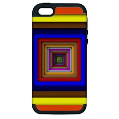 Square Abstract Geometric Art Apple Iphone 5 Hardshell Case (pc+silicone) by Amaryn4rt
