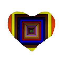 Square Abstract Geometric Art Standard 16  Premium Flano Heart Shape Cushions by Amaryn4rt