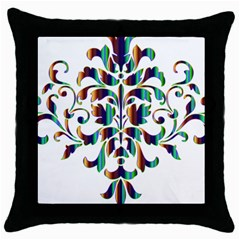 Damask Decorative Ornamental Throw Pillow Case (black)