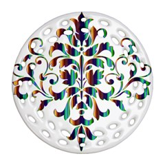 Damask Decorative Ornamental Round Filigree Ornament (two Sides) by Amaryn4rt