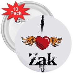 I Heart Zak 3  Buttons (10 Pack)  by badwolf1988store
