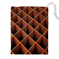 Metal Grid Framework Creates An Abstract Drawstring Pouches (xxl) by Amaryn4rt