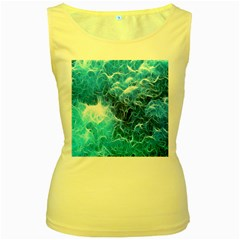 Fractal Occean Waves Artistic Background Women s Yellow Tank Top