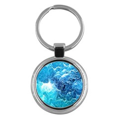Fractal Occean Waves Artistic Background Key Chains (round)  by Amaryn4rt