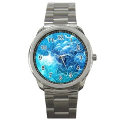 Fractal Occean Waves Artistic Background Sport Metal Watch by Amaryn4rt