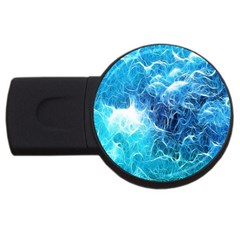 Fractal Occean Waves Artistic Background Usb Flash Drive Round (4 Gb) by Amaryn4rt