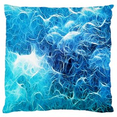 Fractal Occean Waves Artistic Background Large Cushion Case (one Side) by Amaryn4rt