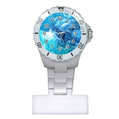 Fractal Occean Waves Artistic Background Plastic Nurses Watch by Amaryn4rt