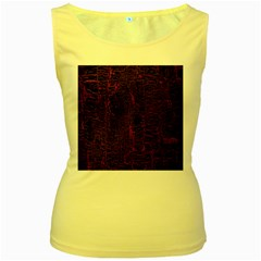 Black And Red Background Women s Yellow Tank Top by Amaryn4rt