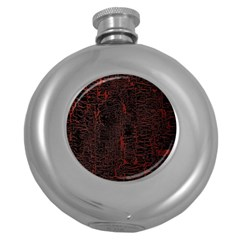 Black And Red Background Round Hip Flask (5 Oz) by Amaryn4rt