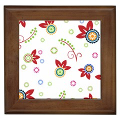 Colorful Floral Wallpaper Background Pattern Framed Tiles by Amaryn4rt
