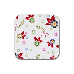 Colorful Floral Wallpaper Background Pattern Rubber Square Coaster (4 Pack)  by Amaryn4rt