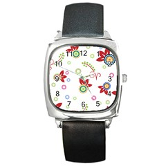 Colorful Floral Wallpaper Background Pattern Square Metal Watch by Amaryn4rt
