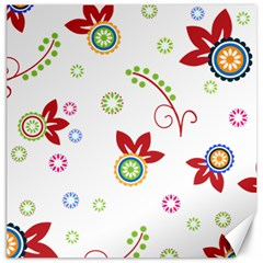 Colorful Floral Wallpaper Background Pattern Canvas 16  X 16   by Amaryn4rt
