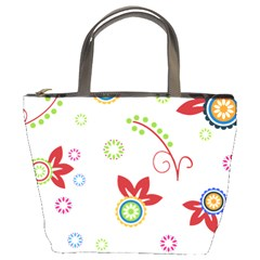 Colorful Floral Wallpaper Background Pattern Bucket Bags by Amaryn4rt
