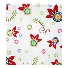 Colorful Floral Wallpaper Background Pattern Shower Curtain 66  X 72  (large)  by Amaryn4rt