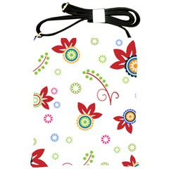 Colorful Floral Wallpaper Background Pattern Shoulder Sling Bags by Amaryn4rt