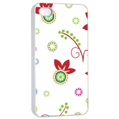 Colorful Floral Wallpaper Background Pattern Apple Iphone 4/4s Seamless Case (white) by Amaryn4rt