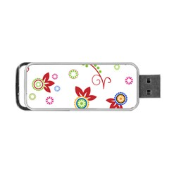 Colorful Floral Wallpaper Background Pattern Portable Usb Flash (one Side) by Amaryn4rt