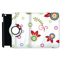 Colorful Floral Wallpaper Background Pattern Apple Ipad 3/4 Flip 360 Case by Amaryn4rt