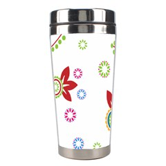 Colorful Floral Wallpaper Background Pattern Stainless Steel Travel Tumblers by Amaryn4rt