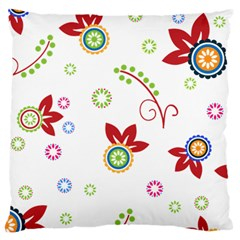 Colorful Floral Wallpaper Background Pattern Large Flano Cushion Case (one Side)