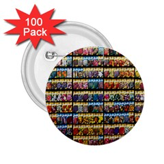 Flower Seeds For Sale At Garden Center Pattern 2 25  Buttons (100 Pack)