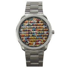 Flower Seeds For Sale At Garden Center Pattern Sport Metal Watch