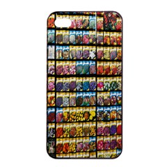 Flower Seeds For Sale At Garden Center Pattern Apple Iphone 4/4s Seamless Case (black) by Amaryn4rt
