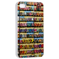 Flower Seeds For Sale At Garden Center Pattern Apple Iphone 4/4s Seamless Case (white) by Amaryn4rt