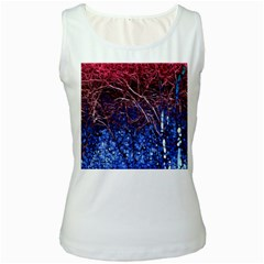 Autumn Fractal Forest Background Women s White Tank Top