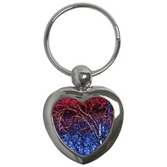 Autumn Fractal Forest Background Key Chains (heart)
